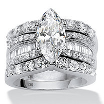 3 Piece 4.55 TCW Marquise-Cut Cubic Zirconia Bridal Ring Set in Platinum over Sterling Silver