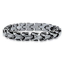 Men's Serpent Link Bracelet in Antiqued Stainless Steel
