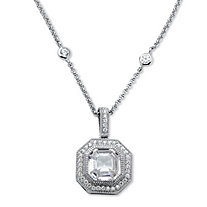 5.45 TCW Ascher-Cut Cubic Zirconia Halo Hexagon Pendant Necklace in Platinum over Sterling Silver