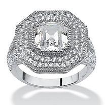 3.15 TCW Ascher-Cut Cubic Zirconia Halo Hexagon Ring in Platinum over Sterling Silver