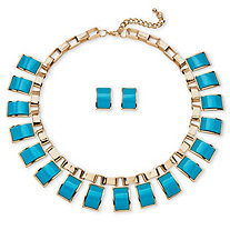 2 Piece Teal Rectangle Necklace and Earrings Set in Yellow Gold Tone