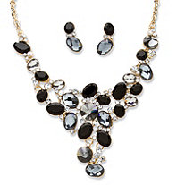 2 Piece Black and Grey Crystal Necklace and Earrings Set in Yellow Gold Tone