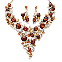 2 Piece Amber Crystal Necklace and Earrings Set in Yellow Gold Tone