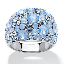 Blue Opal Crystal Cluster Cocktail Ring Made with SWAROVSKI ELEMENTS in Stainless Steel
