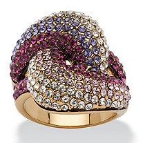 Shades of Purple Crystal Knot Cocktail Ring Made with SWAROVSKI ELEMENTS in Gold Ion-Plated