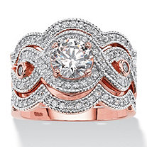 3 Piece 2.37 TCW Round Cubic Zirconia Bridal Ring Set in Rose Gold over Sterling Silver