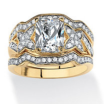 3 Piece 2.97 TCW Emerald-Cut Cubic Zirconia Bridal Ring Set in 14k Gold over Sterling Silver