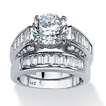 6.40 TCW Round Cubic Zirconia Bridal Ring Set in Platinum over Sterling Silver