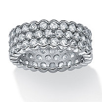 4.50 TCW Round Cubic Zirconia Honey Comb Eternity Band in Platinum over Sterling Silver