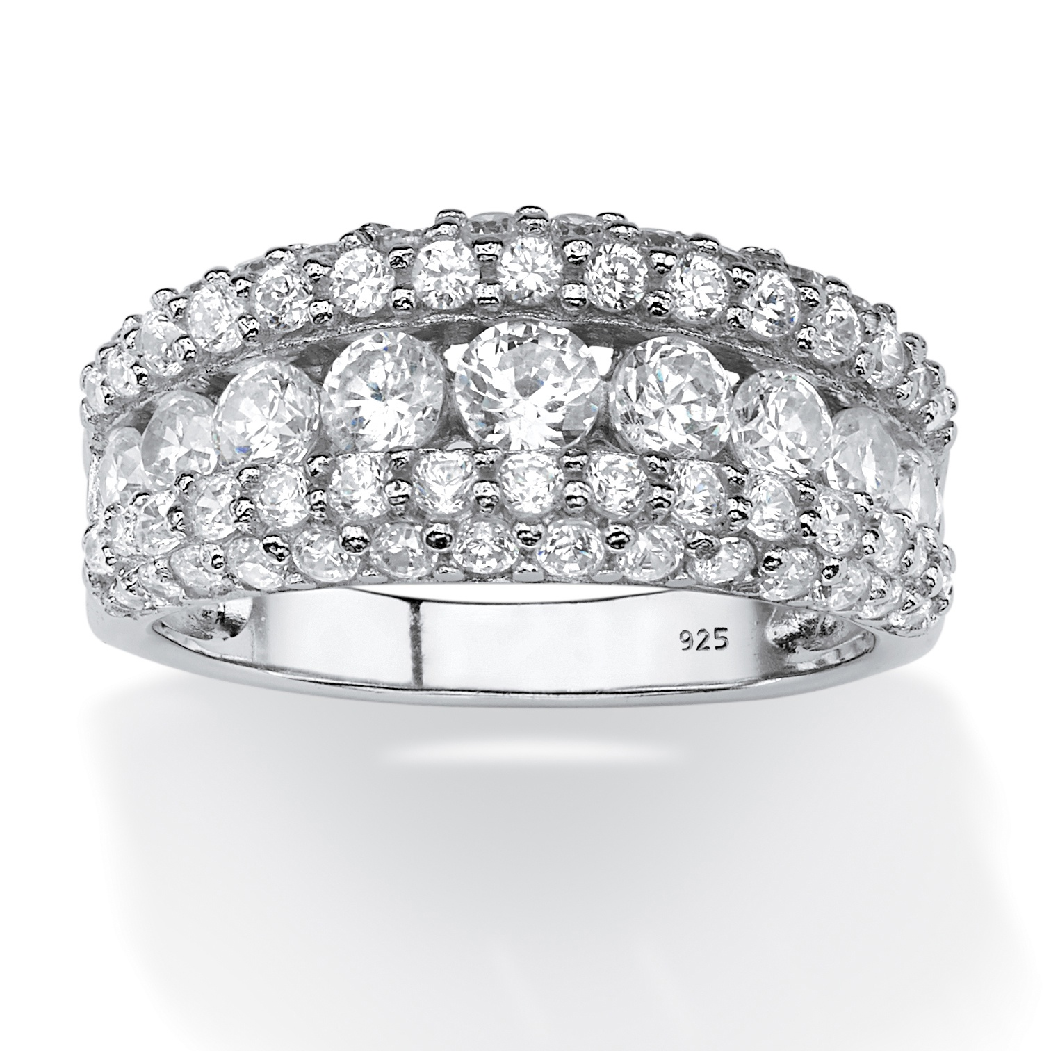 PalmBeach Jewelry 1.26 TCW Round Cubic Zirconia Row Ring in Platinum over Sterling Silver at Sears.com