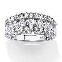 1.26 TCW Round Cubic Zirconia Row Ring in Platinum over Sterling Silver