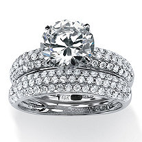 2 Piece 3.28 TCW Pave Cubic Zirconia Bridal Ring Set in 10k White Gold