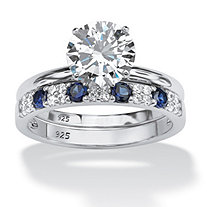 2 Piece 2.58 TCW Round Cubic Zirconia and Sapphire Bridal Ring Set in Platinum over Sterling Silver