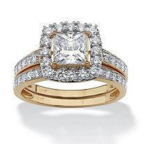 2 Piece 1.93 TCW Princess-Cut Cubic Zirconia Square Halo Bridal Ring Set in 10k Gold