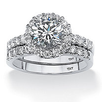 2 Piece 2.71 TCW Round Cubic Zirconia Halo Bridal Ring Set in 10k White Gold