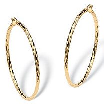 Twisted Hoop Earrings in 10k Gold