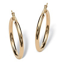 Polished Hoop Earrings in 10k Gold