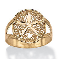 Sand Dollar Double Shank Ring in 10k Gold