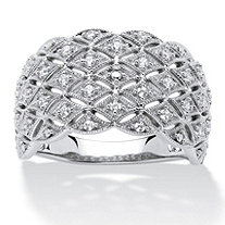 1/4 TCW Round Diamond Lattice Ring in Platinum over Sterling Silver