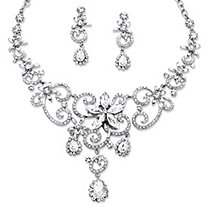 2 Piece Swirl and Flower Crystal Necklace and Earrings Set in Platinum-Plated