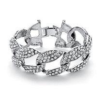 Crystal Curb-Link Bracelet in Silvertone