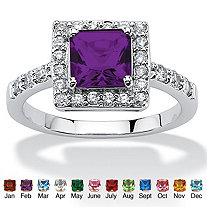 Princess-Cut Birthstone Halo Ring in Sterling Silver