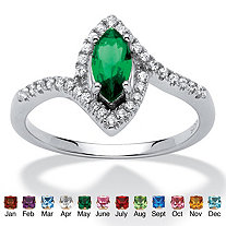 Marquise-Cut Birthstone and Cubic Zirconia Ring in Sterling Silver