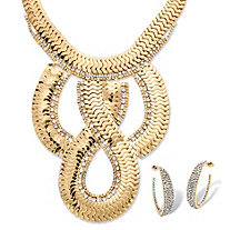 2 Piece Dramatic Flat Link Necklace and Earrings Set in Yellow Gold Tone