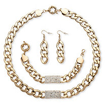 3 Piece Curb-Link Crystal I.D. Necklace, Bracelet And Drop Earrings Set in Yellow Gold Tone