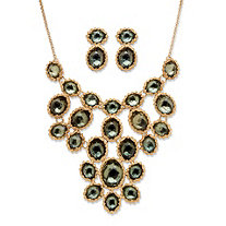 2 Piece Grey Crystal Necklace And Earrings Set In Yellow Gold Tone