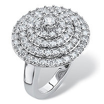 2.12 TCW Round Cubic Zirconia Concentric Circle Ring in Silvertone