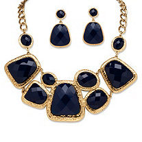2 Piece Navy Geometric Necklace and Earrings Set in Yellow Gold Tone
