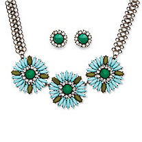 2 Piece Sky Blue Crystal Flower Necklace and Earrings Set in Black Rhodium-Plated