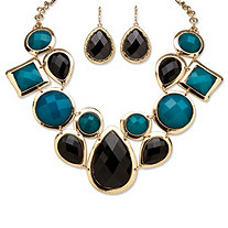 Black and Teal Geometric Necklace and Earrings Set in Yellow Gold Tone