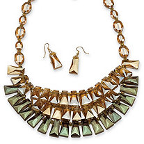 2 Piece Champagne and Blue Grey Beaded Necklace and Earrings Set in Yellow Gold Tone