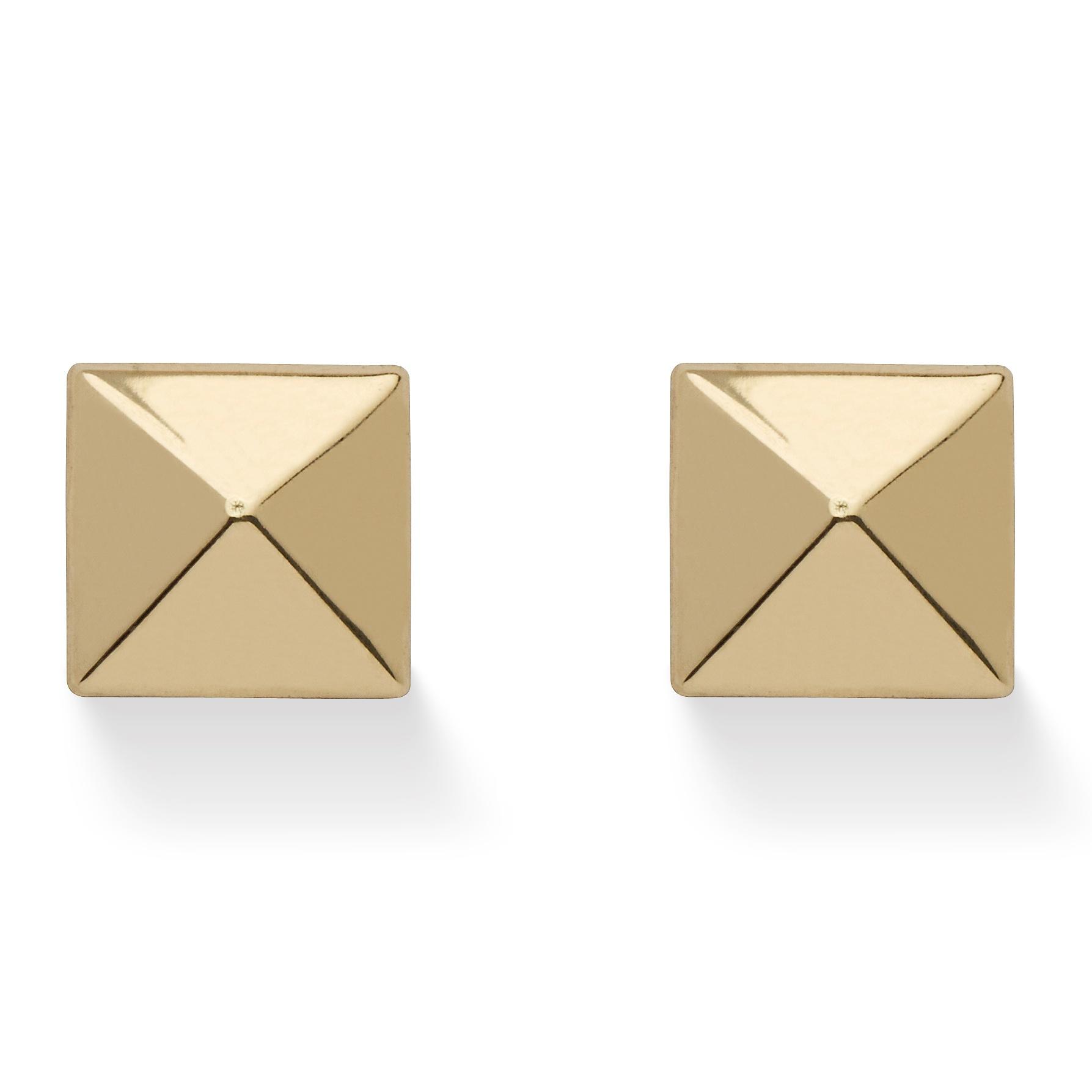 PalmBeach Jewelry Pyramid Stud Earrings in 14k Gold