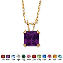 Princess-Cut Birthstone Pendant Necklace in 10k Gold