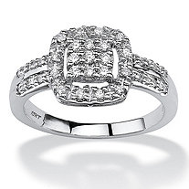 1/4 TCW Round Diamond Halo Ring in 10k White Gold