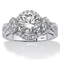 2.54 TCW Round Cubic Zirconia Halo Ring in 10k White Gold