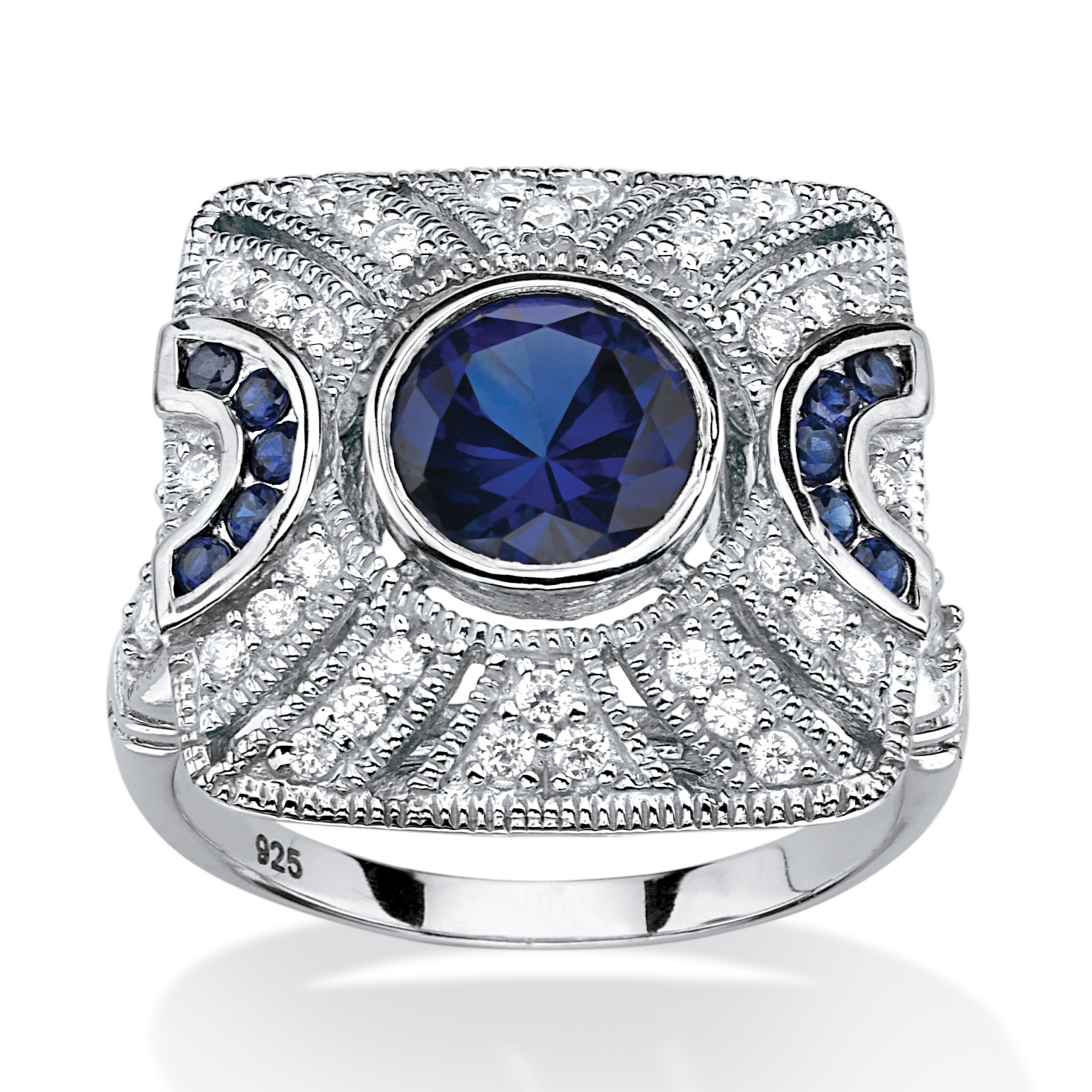 PalmBeach Jewelry 3.19 TCW Lab Created Blue Sapphire and Cubic Zirconia Cocktail Ring in Platinum Over Sterling Silver