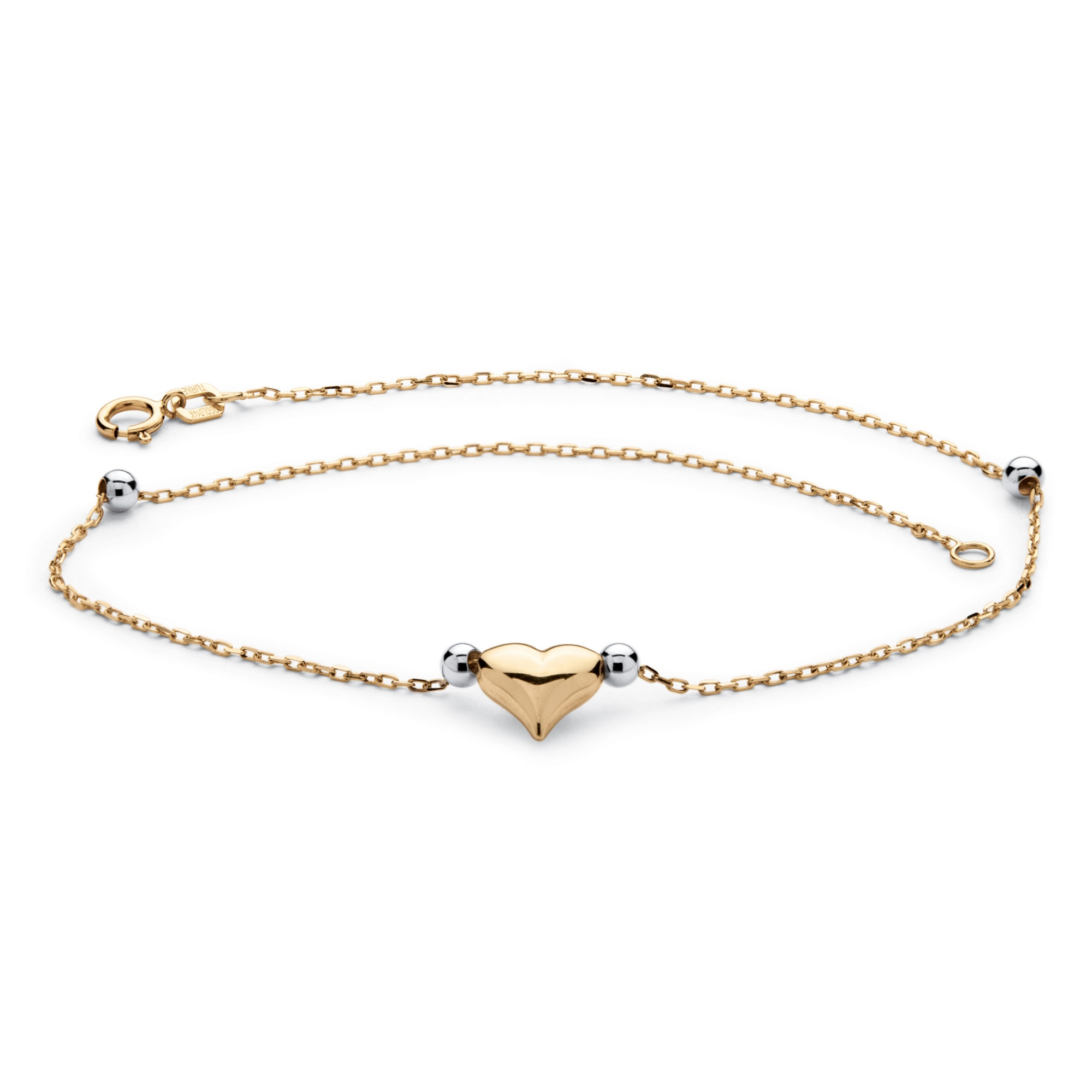 palmbeach jewelry puffed two tone ankle bracelet in