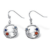 Round Crystal Sterling Silver Antique-Finish Moon and Stars Drop Earrings