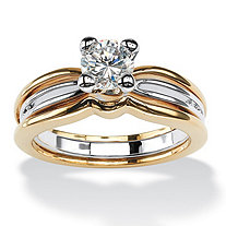 1.38 TCW Round Cubic Zirconia 14k Yellow Gold-Plated Two-Tone Engagement Anniversary Ring