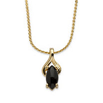 Marquise Shaped Genuine Onyx Pendant Necklace in Yellow Gold Tone