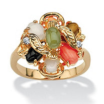 Oval-Shaped Coral, Opal, Jade, Onyx, Tiger's-Eye 14k Yellow Gold-Plated Cluster Ring