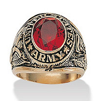 Men's Oval Cut Simulated Ruby 14k Yellow Gold-Plated Antique-Finish Army Ring
