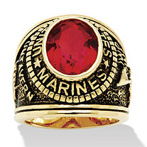 Men's Oval Cut Simulated Ruby 14k Yellow Gold-Plated Antique-Finish Marines Ring