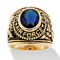 Men's Oval Cut Simulated Sapphire 14k Yellow Gold-Plated Antique-Finish Air Force Ring