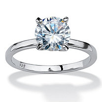 2 Carat Round Cubic Zirconia Sterling Silver Solitaire Ring with Narrow Band