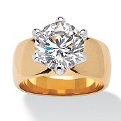 4-Carat Round Cubic Zirconia 14k Yellow Gold-Plated Solitaire Ring